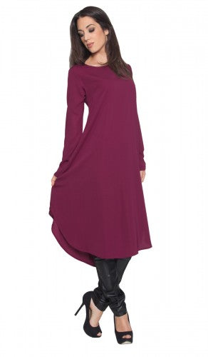 Long Purple Orchid Curved Hem Midi Tunic Dress