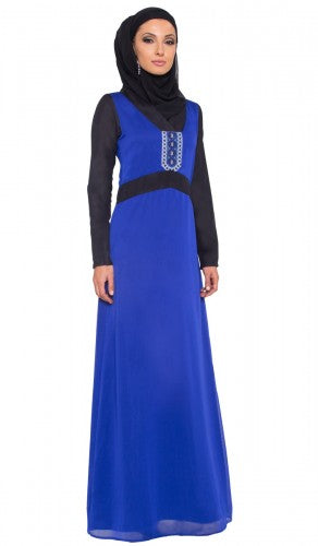 Stylish Royal Blue Palestinian Embroidered Long Maxi Dress Abaya