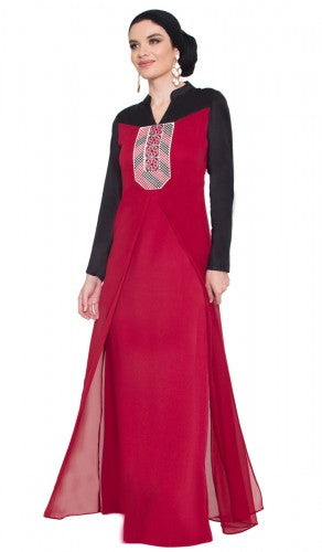 Stylish Maroon Palestinian Embroidered Long Maxi Dress Abaya