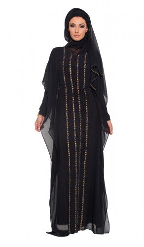 Modest Islamic Black and Gold Chiffon Caftan Dress Abaya