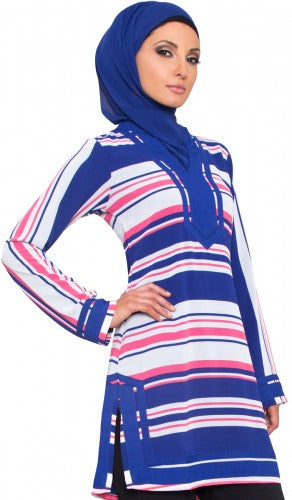 Blue White Striped Chiffon Long Tunic