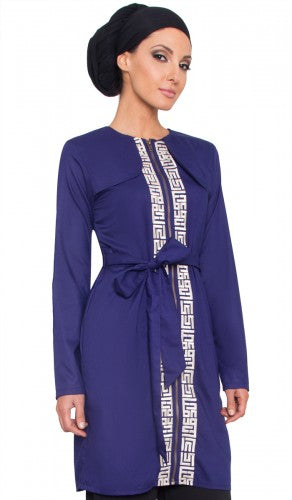 Womens Lightweight Blue Embroidered Long Trench Coat