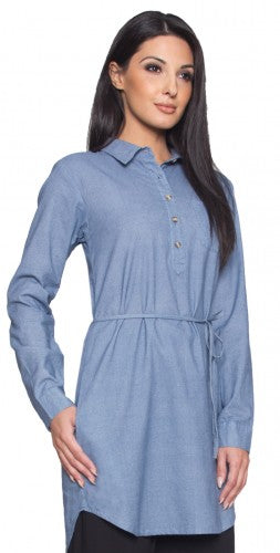 Womens Long Blue Chambray Popover Tunic Dress