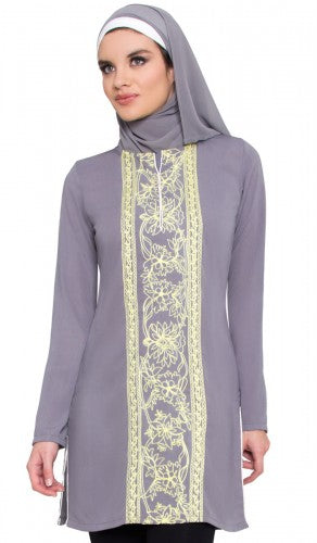 Gray and Yellow Embroidered Long Modest Tunic