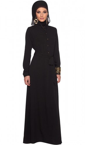 Stylish Black Modest Islamic Long Maxi Dress Abaya