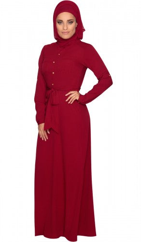 Stylish Maroon Modest Islamic Long Maxi Dress Abaya