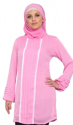 Pink Long Islamic Tunic with Lace