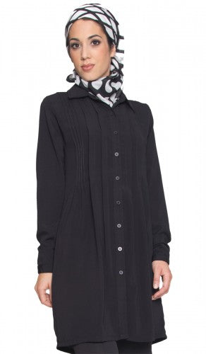 Black Modest Collared Long Tunic Dress