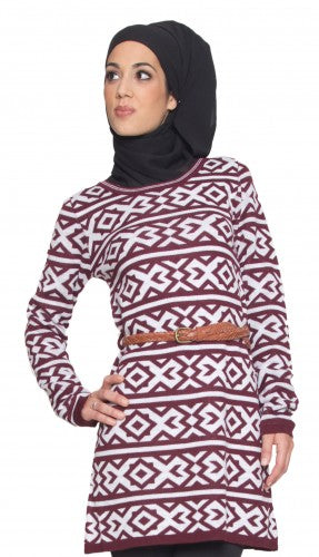 Modest Aztec Long Maroon Knit Sweater Dress