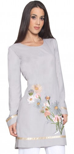 Stylish Modest Gray Long Embroidered Tunic Dress