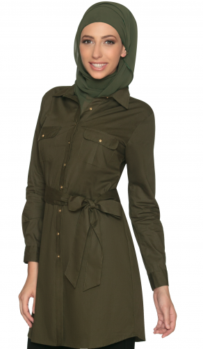 Long Safari Button Down Olive Green Tunic Dress
