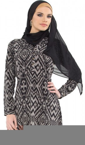 Elisabeth Black Ikat Print Long Tunic with Pin-tucks