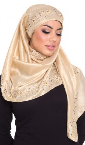 Beige Gold Silk Wrap Hijab with Hand Beaded Embroidery