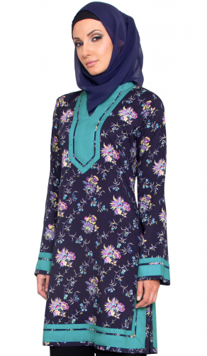 Navy Floral Print Moroccan inspired Long Tunic