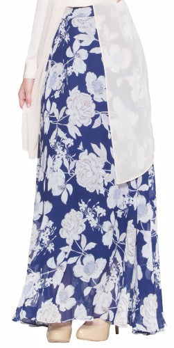 Navy Blue Beige Chiffon Floral Print Long Modest Maxi Skirt