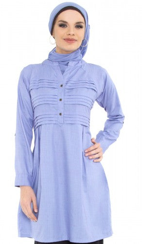 Fareesa Periwinkle Pleated Long Tunic