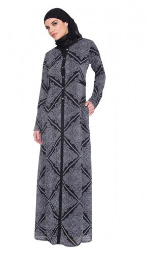 Black and White 2 in 1  Reversible Printed Abaya with FREE Hijab