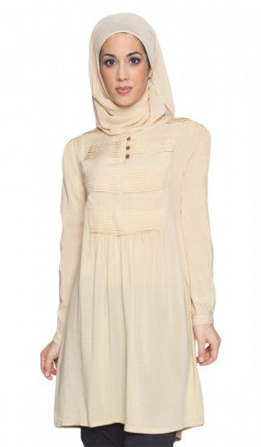 Modest Long Tan Pleated Yoke Tunic Dress