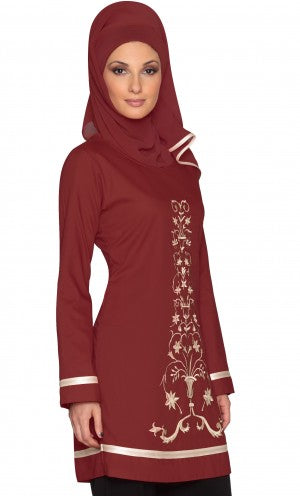Isabel Maroon Red Floral Embroidered Long Tunic