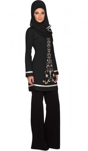 Isabel Black Floral Embroidered Long Tunic