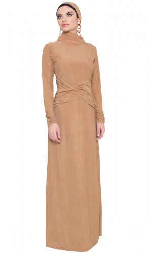 Bronze Gold Jersey Modest Maxi Dress with Scarf