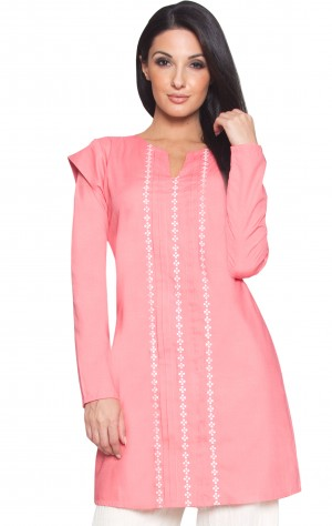 Stylish Modest Long Coral Pink Embroidered Tunic Dress