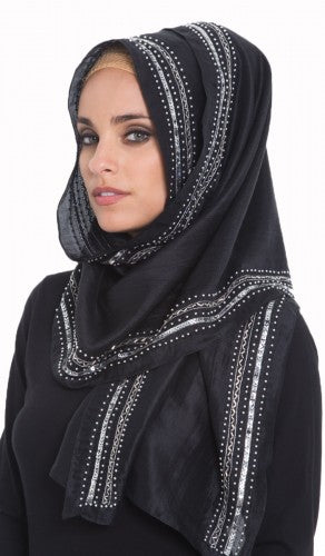 Kulsoom Black Silk Wrap Hijab with Silver Hand Beaded Borders