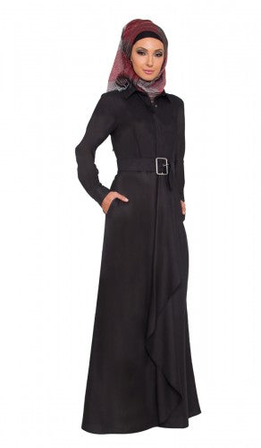 Stylish Black Modest Long Belted Maxi Dress Abaya