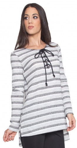 Modest Gray Cream Striped Lace up Long Knit Tunic