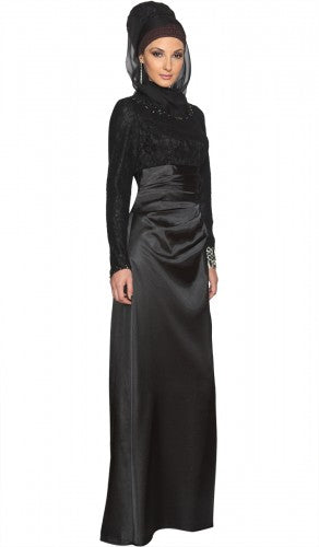 Black Lace and Satin Islamic Formal Long Dress with Hijab