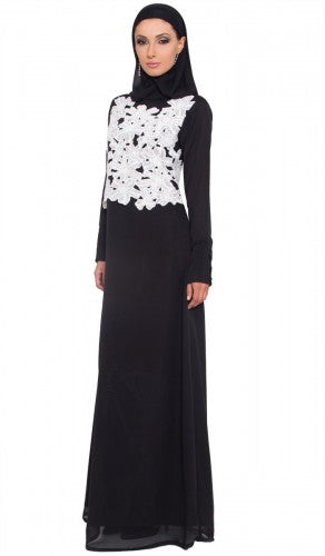 Black and White Lace Long Sleeve Modest Islamic Maxi Dress Abaya