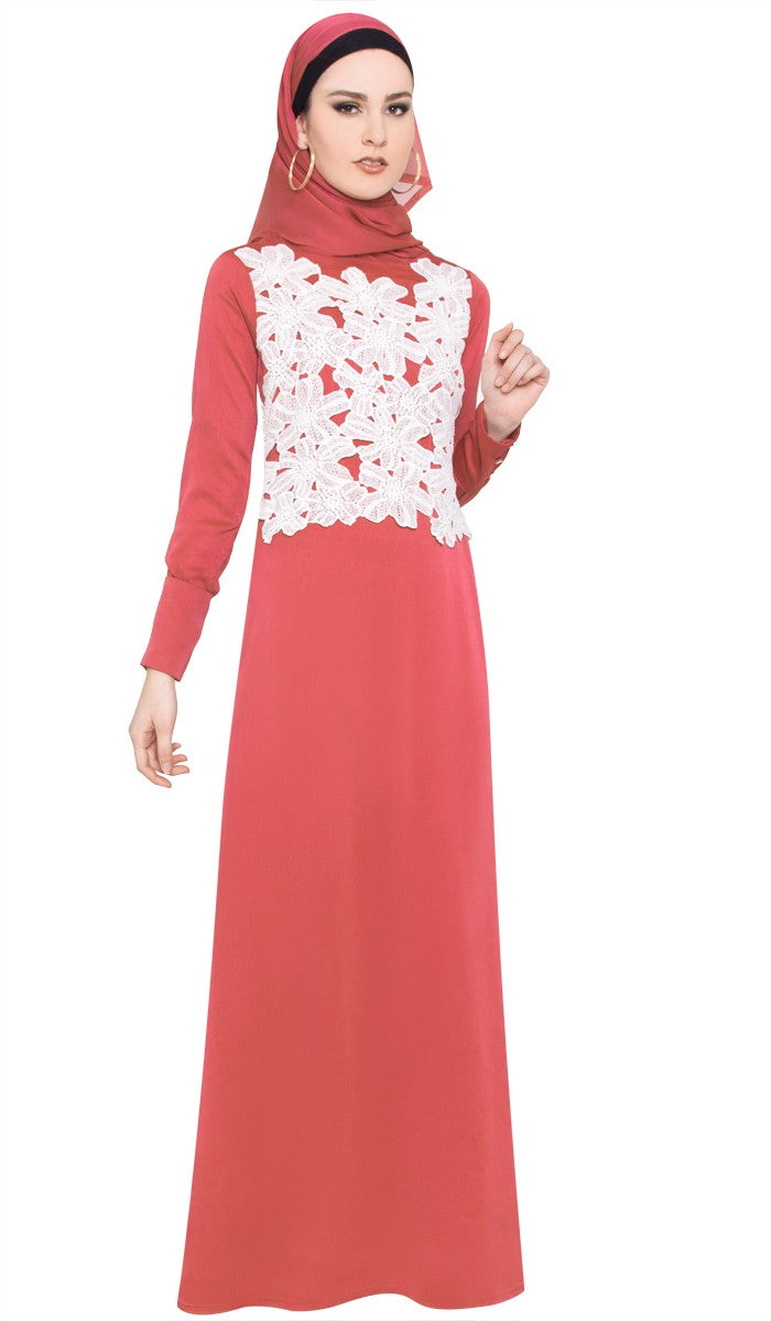 Red Silk Chiffon Modest Islamic Formal Maxi Dress Abaya
