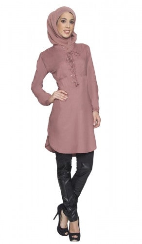 Marsala Red Long Lace up Modest Tunic