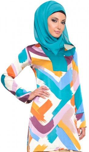 Silky Colorful Moroccan Inspired Long Tunic