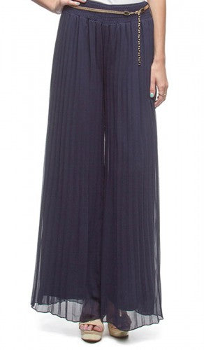 Navy Blue Accordion Pleated Fully Lined Wide Leg Palazzo Pants