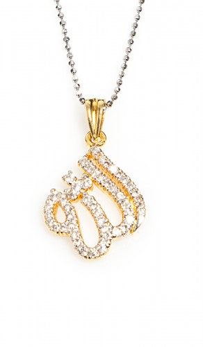 Gold-Plated Sterling Silver Diamond Look Allah Necklace
