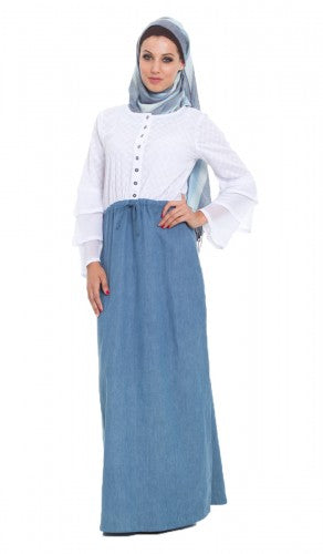 Noreen Embroidered Cotton and Denim Long Islamic Maxi Dress Abaya