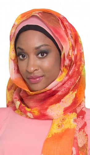 Pink and Yellow Floral Hijab Scarf