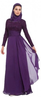 Azza Purple Islamic Formal Long Dress with Hijab