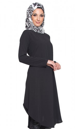 Black Long Curved Hem Midi Tunic Dress
