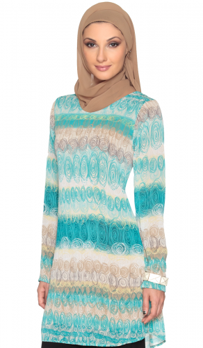 Modest Long Aqua Tan Print Chiffon Shift Dress
