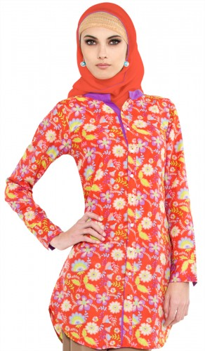 Sahar Coral Button Front Floral Printed Long Islamic Tunic