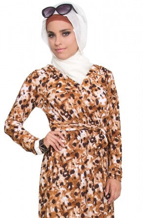 Leopard Print Wrap Tunic Dress - Brown