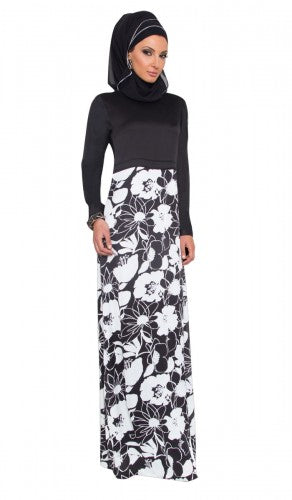 Black and White Silky Long Sleeve Modest Islamic Maxi Dress Abaya