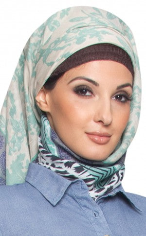 Teal, Black and White Square Patterned Hijab Scarf