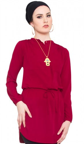 Vanessa Modest Islamic Maroon Long Tunic Dress