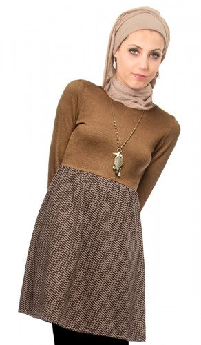 Amina Long Sleeve Knit Dress with Contrasting Skirt - Brown