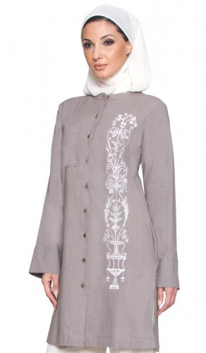Mocha Embroidered Modest Long Buttondown Tunic