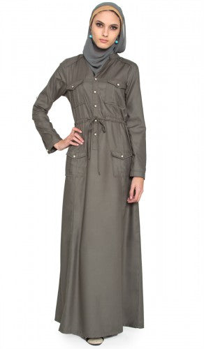 Zia Sage Green Safari Islamic Maxi Dress Abaya with Free Hijab