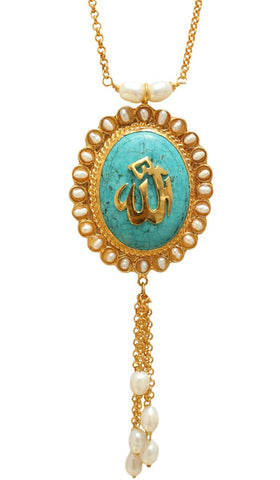 Goldplated Oval Allah Tassel Necklace - Turquoise and Pearl